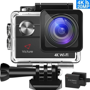 action kamera von victure 4k wifi 20 mp display und 2 akkus. Black Bedroom Furniture Sets. Home Design Ideas